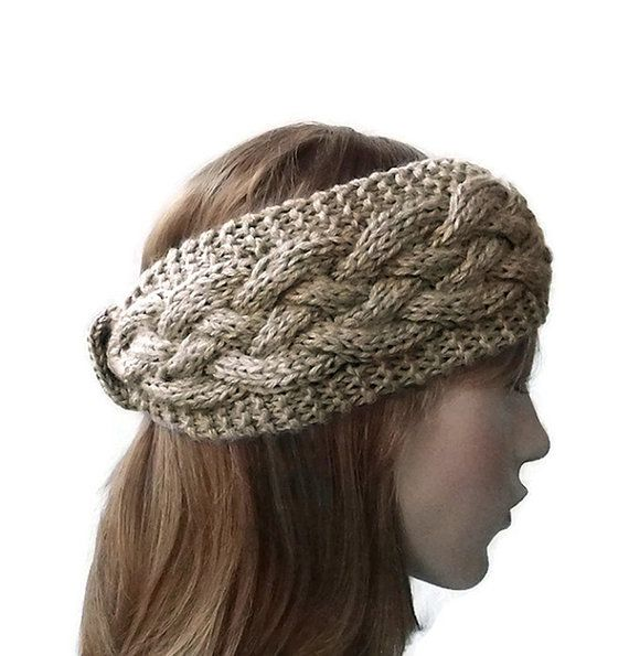 Hand Knit Headband in Beige Thick Cable Knit Headband
