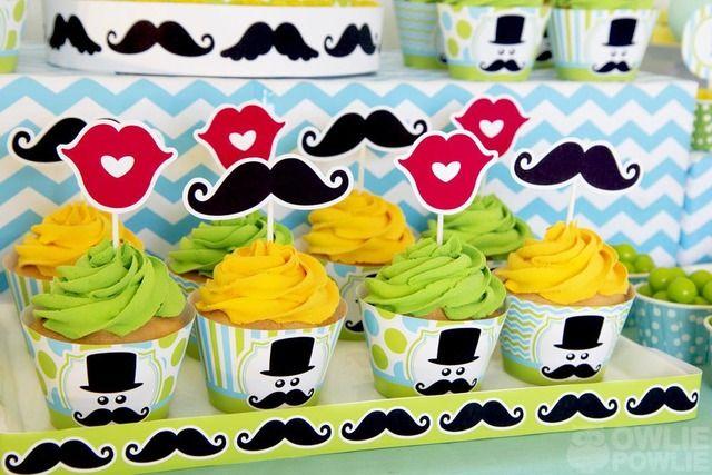 Cupcakes at cupcakes at a Mustache Bash #mustachebash #cupcakes