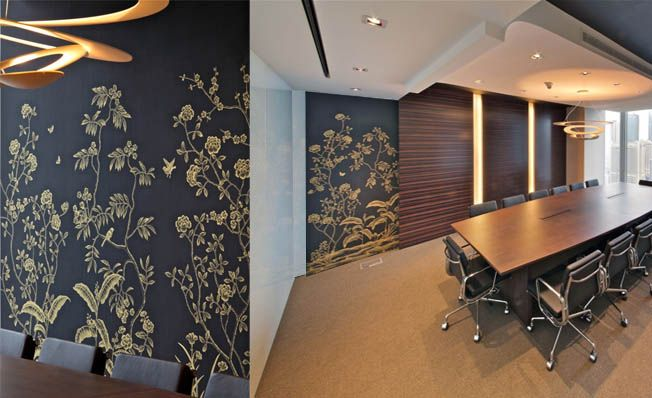 Modern chinoiserie 'Gold Banana Garden' by Misha wallpaper: Designer DLArchitecture featured hand painted wallpaper Gold Banana Garden on Black silk in the client's office in Shaghai, China.