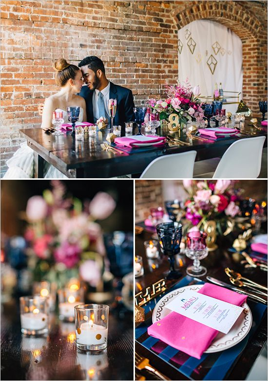 gold navy and hot pink table decor @weddingchicks