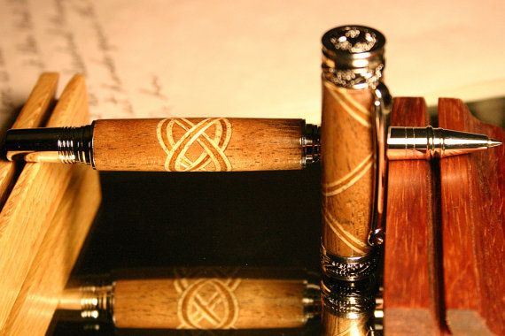 Handcrafted wood pen with Celtic knot in by HopeAndGracePens, $144.00