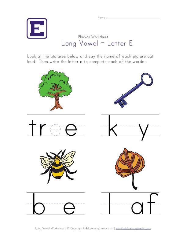 long vowel e worksheet kid crafts homeschooling pinterest phonics long vowels and worksheets. Black Bedroom Furniture Sets. Home Design Ideas