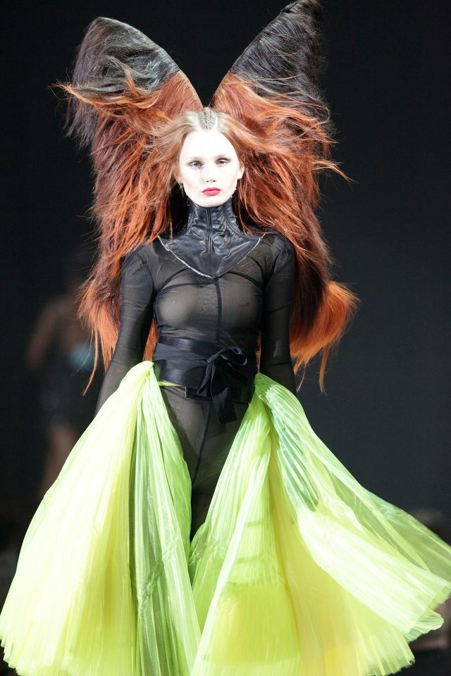 This is a similar way I imagined I could style the model's hair or wig to resemble a butterfly.