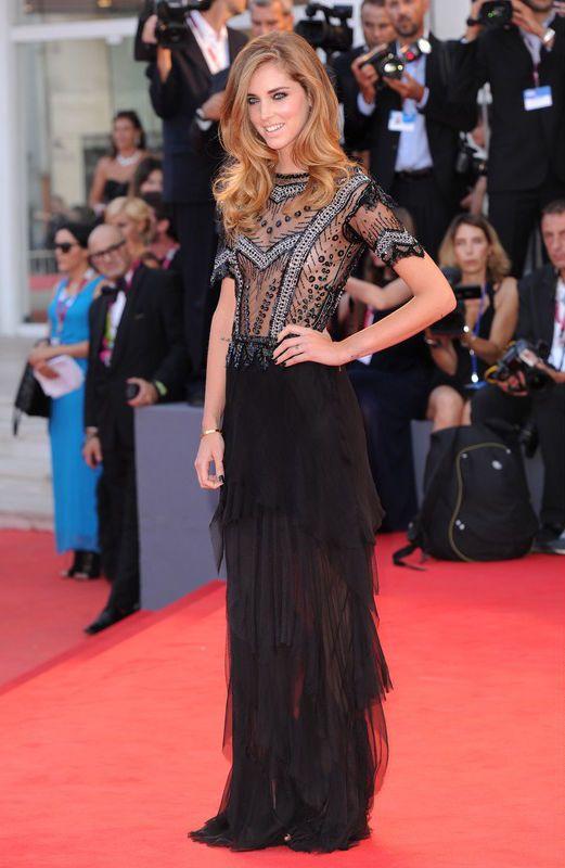 """Chiara Ferragni na premierze filmu """"Gravity""""na Festiwalu Filmowym w Wenecji 2013, fot. East News"""