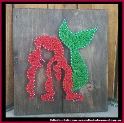Dollar Store Crafter Ariel The Little Mermaid String Art
