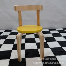 Children's IKEA outlet yellow wood armchair chair baby nursery wholesale 2-8 years old to do a round stool(China (Mainland))