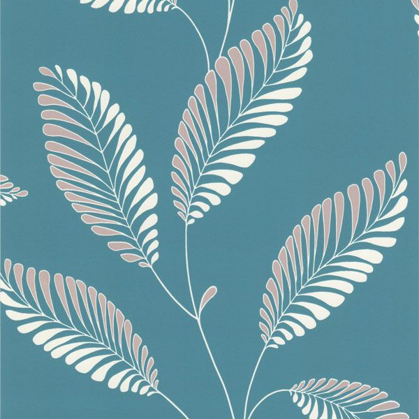 DL30467 Aqua Modern Leaf Trail - Aubrey - Decorline Wallpaper