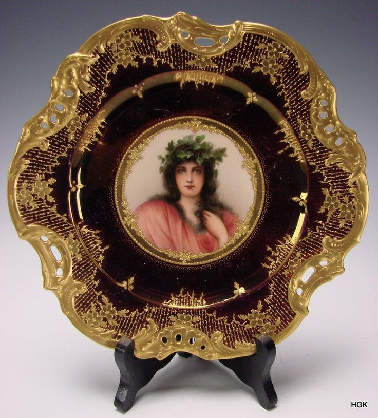 Antique royal vienna iridescent luster hand painted for Hand painted portraits from photos