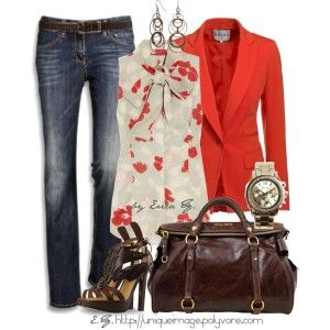 fall-outfits-2012-11: Shoes, Red Blazers, Casual Friday, Casual Fall Outfits, Color, Jeans, Fall Looks, Work Outfits, Bright Red