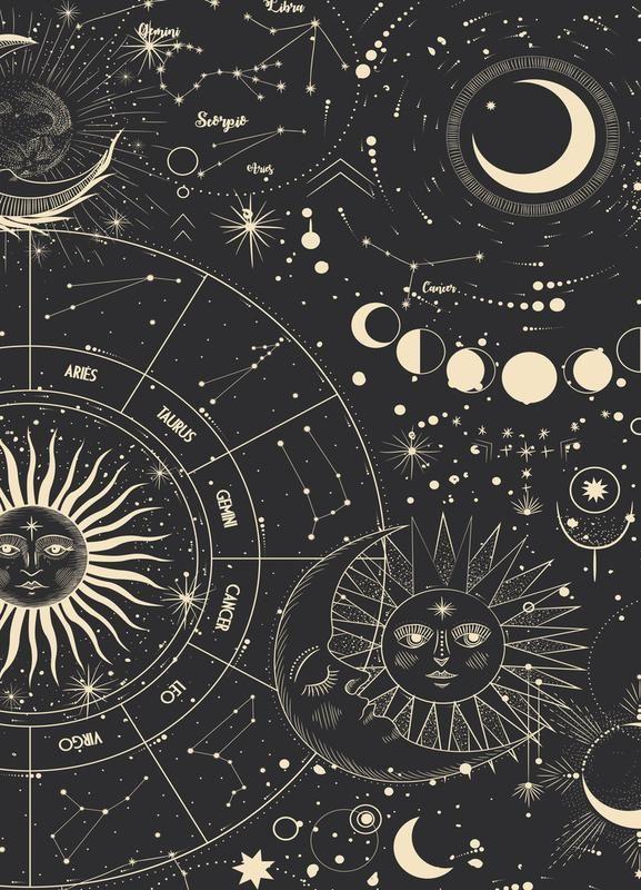 Astrology Wheel Par Daylight Design Studio Astronomie Cosmos Noir Juniqe Plus Daffiches Sur Www Jun Moon Stars Art Art Collage Wall Poster Wall Art