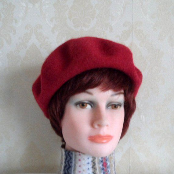 Vivid red color boiled wool beret-Women s french style beret-Pure felt  lambswool beret-Classic Lady s red beret-Winter elegant accessory 9bf82048700