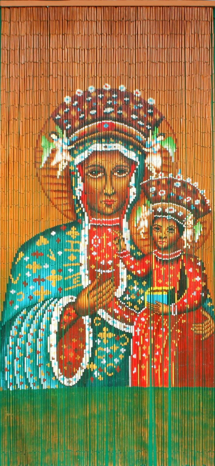 Painted bamboo curtains for doors - Bamboo Beaded Curtain Hand Painted Black Madonna Of Czestochowa