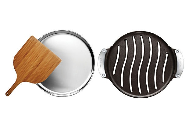 Pizza Set w/ Stainless Tray & Wood Peel >> pizza by the pool. #barbecue #summer #entertaining #BBQ: Cuisinart Preseason, Preseason Cast, Gifts Ideas, Castiron Grilled, Cuisinart Castiron, Pizza Sets, Irons Grilled, Cast Irons, Grilled Pizza