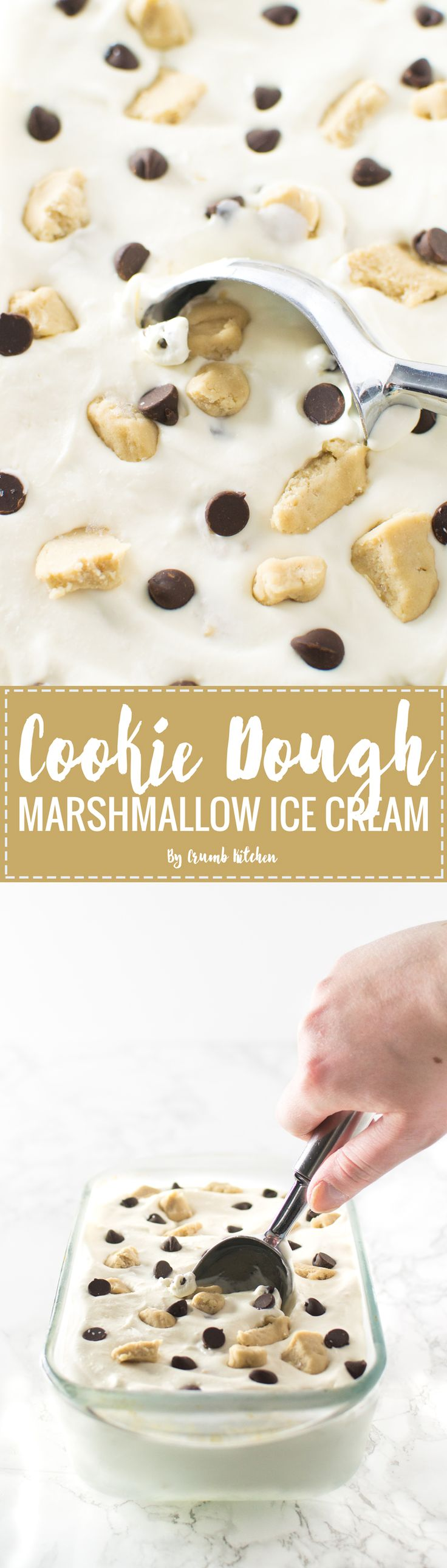 This No-Churn Marshmallow Cookie Dough Ice Cream combines creamy vanilla ice cream with chocolate chips and homemade chunks of cookie dough. | Crumb Kitchen