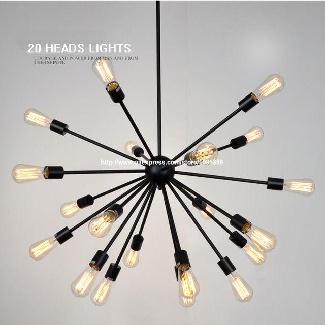 Gratis Verzending Vintage 12/16/20 Heads Satelliet Metalen Kroonluchters Lamp Zwart Kleur Eetkamer Plafond Armaturen Verlichting