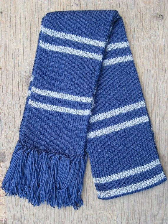 Ravenclaw Scarf Knitting Pattern : Dark blue and silver gray knit striped scarf Ravenclaw, Blue and and Gray