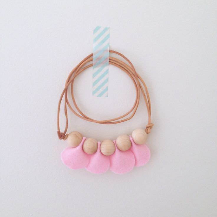 """• """"Petal"""" Necklace  •  Dear May  •    Felt petals and wooden beads on adjustable leather cord, fits adults and little ones. Mum and bub can share!"""