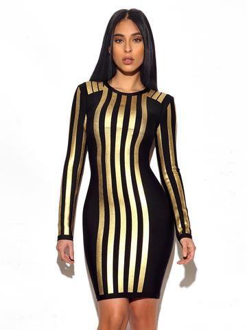 Judith Metallic Stripe Long Sleeve Bandage Dress