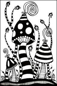Klinkers in Beeld: Fantasie paddenstoel in zwart wit