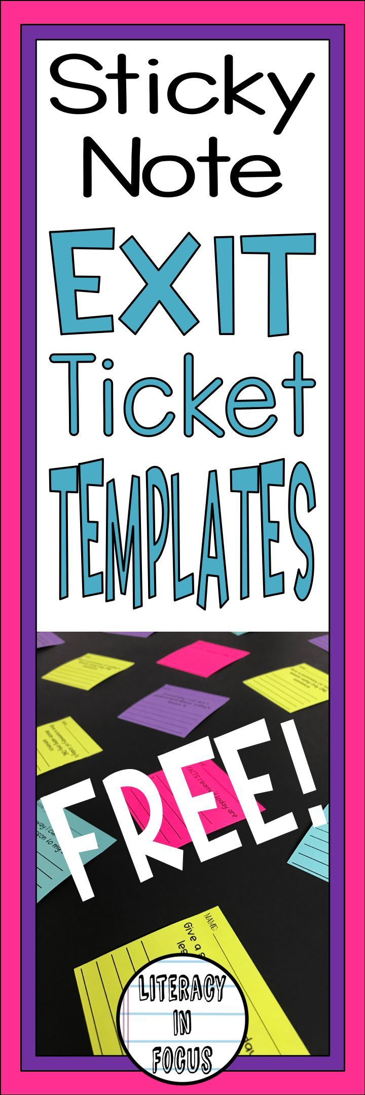 Assess student understanding and get valuable feedback with exit tickets! This product contains 15 different sticky note exit ticket templates for use with any subject. If you are looking for a quick and easy formative assessment tool, look no further! Assess reteaching needs in minutes using these sticky note exit tickets! #exittickets