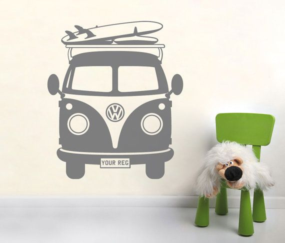 Personalised Volkswagen CAMPER VAN vinyl wall art sticker. Please leave a message when checking out with your requested reg plate or name. if no message