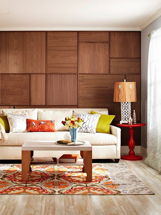 DIY Wood Walls • Tons of Ideas, Projects & Tutorials! Including this sophisticated wood veneer grid wall from bhg.