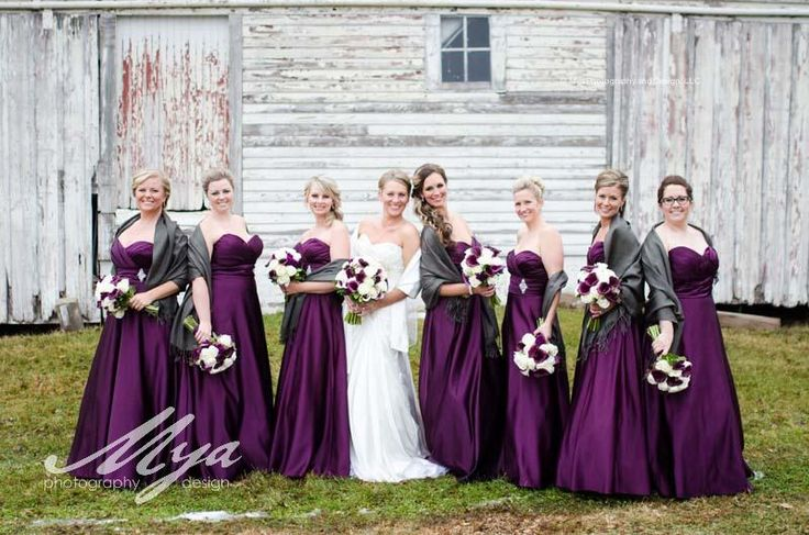 73 best bridal party flowers images on pinterest bridal for Cream and purple wedding dresses