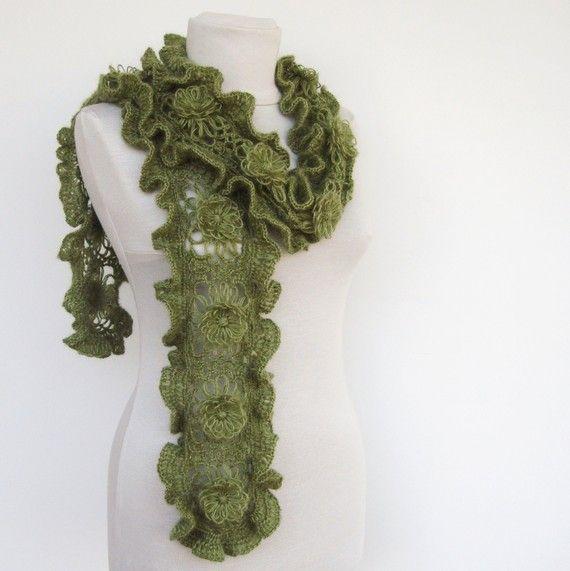 Crochet Scarf in Green - Green Scarf - Ruffled Scarf
