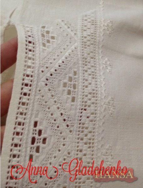 Gallery.ru / Фото #1 - Білим по білому. Вишитий купон на чоловічу сорочку. - Hansa