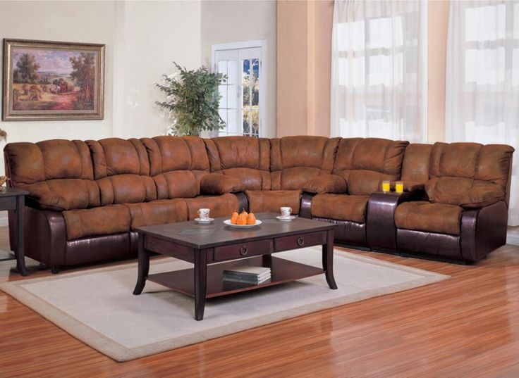 Sectional Recliner Sofa in Brown MicroFabric Dark Brown Vinyl : two tone microfiber sectional - Sectionals, Sofas & Couches