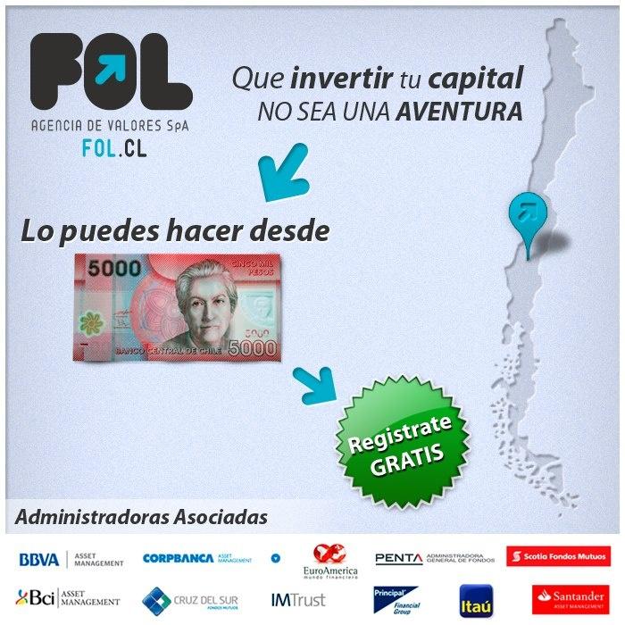 Que invertir tu capital no sea una aventura, lo puedes hacer desde 5000, regístrate gratis en www.fol.cl