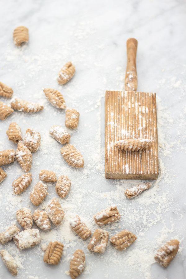 chestnut gnocchi with walnut pesto