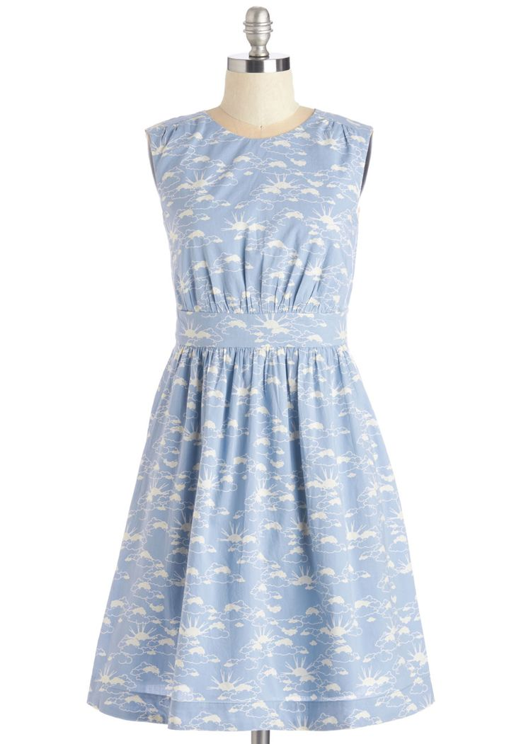 Too Much Fun Dress in Sky by Emily and Fin - Mid-length, Cotton, Woven, Blue, White, Novelty Print, Print, Casual, Quirky, A-line, Sleeveless, Spring, International Designer, Variation, Pockets