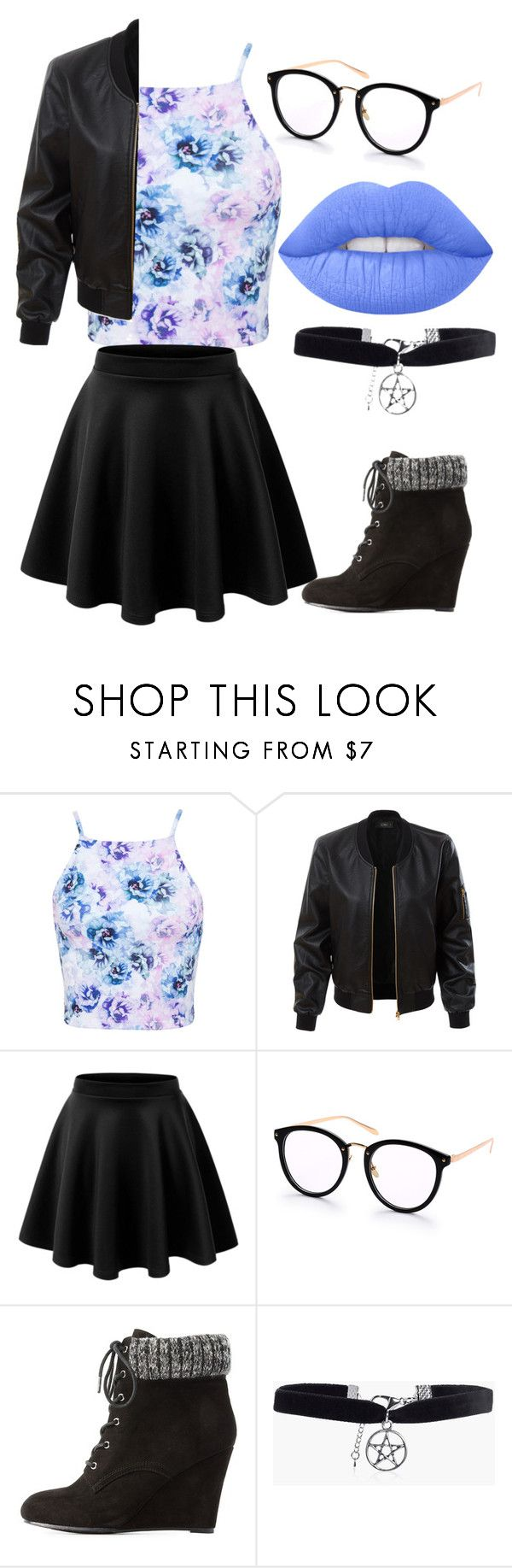 """""""outfit"""" by hjeanb on Polyvore featuring Miss Selfridge, LE3NO, Charlotte Russe, Boohoo and Lime Crime"""
