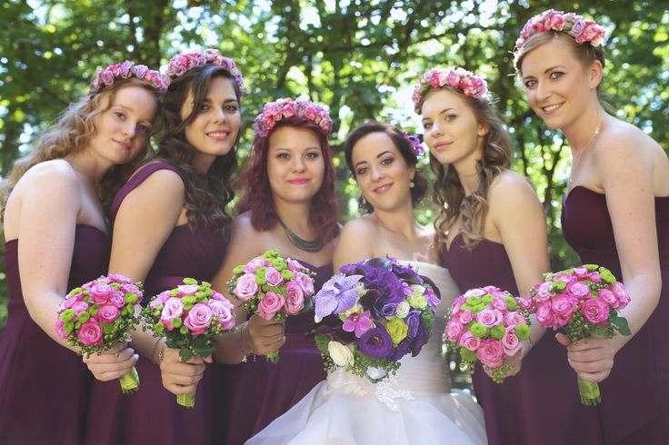 Purple - hot pink - green bridesmaid bouquets with matching headbands