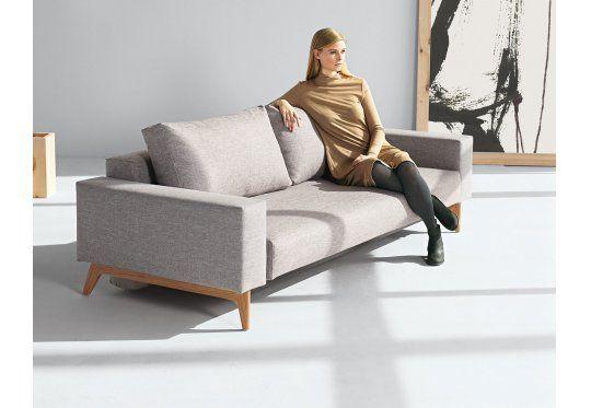 Istyle Idun Sofa Rozkładana, podłokietniki, szara tkanina 521, nogi drewniane - sof