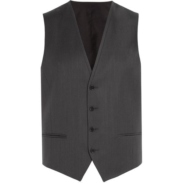 Hugo Cotton Vest ($165) ❤ liked on Polyvore featuring men's fashion, men's clothing, men's outerwear, men's vests, men, grey, mens gray vest, mens vest, mens vests outerwear and mens slim fit vest