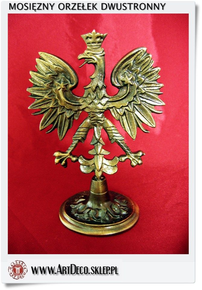 Polish eagle emblem brass figurine