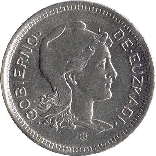 Monedas Euskadi 1937. 1 peseta.