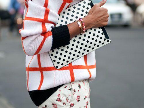 mixed prints at Milan Fashion Week.