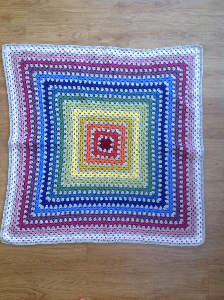 Rainbow granny square made for my daughters teacher who's wife was expecting a baby. 3rd blanket ever made