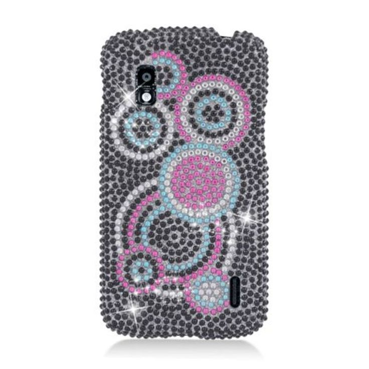 Insten / Pink Circles Hard Snap-on Rhinestone Bling Case Cover For LG Google Nexus 4 E960
