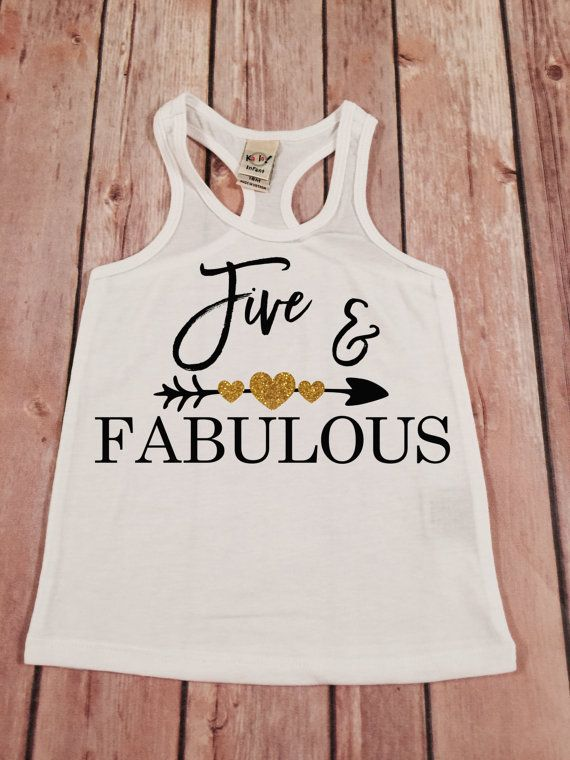 Five and Fabulous Birthday Racer Gold Birthday Shirt by SnowSew