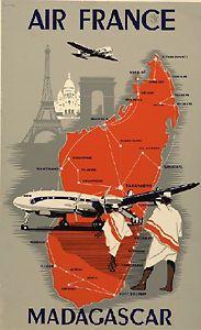 Détails sur AIR France - Madagascar - 50x70cm AFFICHE / POSTER NEUF envoi Roulé