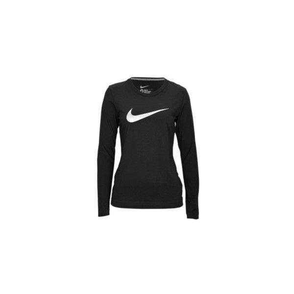 Nike L/S Swoosh T-Shirt - Women's - Sport Inspired - Clothing -... (69 BRL) ❤ liked on Polyvore featuring activewear and sports activewear