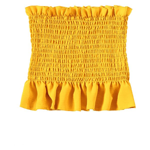 Ruffle Smocked Tube Top ($30) ❤ liked on Polyvore featuring tops, flounce top, yellow ruffle top, yellow top, yellow tube top and smocked tube top