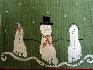 Footprint snowmen - I like this but would do it as a picture rather than a table runner!