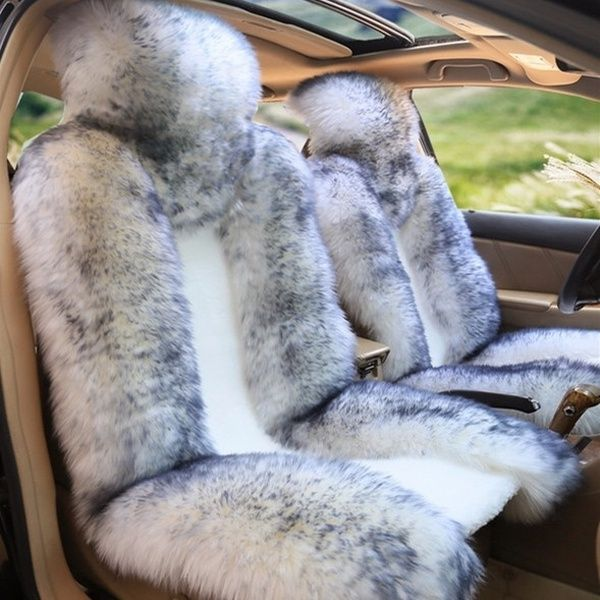 One Piece Genuine Sheepskin Car Seat Cover Real Fur Fits Most Cars White With Grey Tips Wish Sheepskin Car Seat Covers Car Interior Girly Car