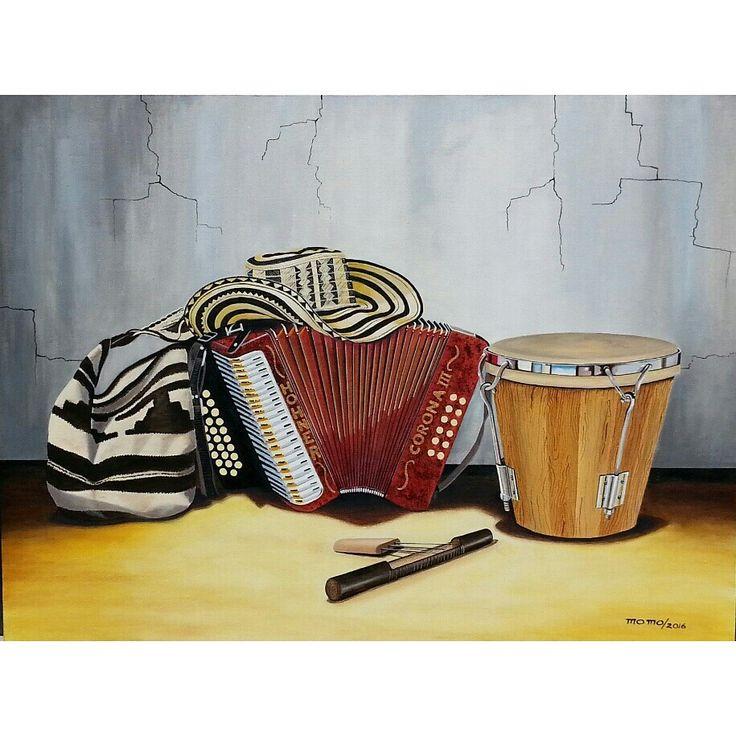 """Bodegon tipico colombiano - Acrilico/tela- 30""""x40"""". Instrumentos vallenato (acordeon, caja y guacharaca.) Sombrero y tula.  momo/2016"""