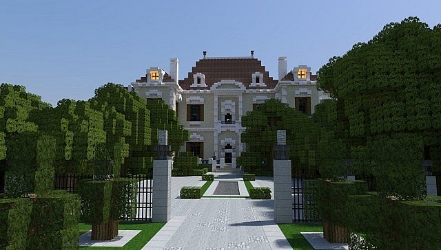 Crespi Estate Rebuild Minecraft house mansion acres luxury building ideas front